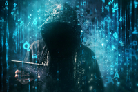 Computer hacker with hoodie in cyberspace surrounded by matrix c 11098087423| 写真素材・ストックフォト・画像・イラスト素材|アマナイメージズ