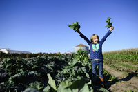 Portrait of happy girl holding leaf vegetables while standing on farm against clear sky during sunny day 11100064827| 写真素材・ストックフォト・画像・イラスト素材|アマナイメージズ