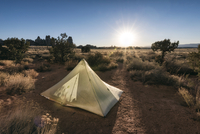 Tent on field at Canyonlands National Park against sky 11100065009| 写真素材・ストックフォト・画像・イラスト素材|アマナイメージズ