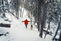 Rear view of man with Golden Retriever walking on snow covered field in forest 11100065071| 写真素材・ストックフォト・画像・イラスト素材|アマナイメージズ