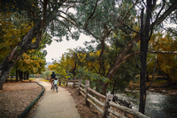 Rear view of father and son cycling on footpath during autumn 11100065998| 写真素材・ストックフォト・画像・イラスト素材|アマナイメージズ