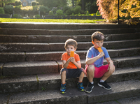 Boys eating popsicles while sitting on steps 11100067573| 写真素材・ストックフォト・画像・イラスト素材|アマナイメージズ