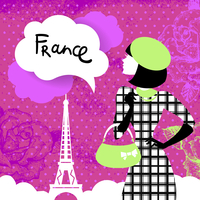 Stylish retro background with shopping woman silhouette in France. Vintage elegant design with hand drawn flowers and symbol of  60016001329| 写真素材・ストックフォト・画像・イラスト素材|アマナイメージズ
