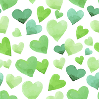 Background with watercolor hearts. Green seamless Irish pattern for St. Patrick's Day 60016001388| 写真素材・ストックフォト・画像・イラスト素材|アマナイメージズ