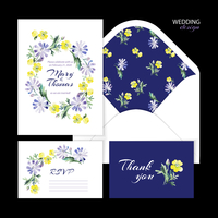 Vector wedding set with watercolor floral illustration. Wedding invitation, thank you card, envelope and RSVP card. 60016001457| 写真素材・ストックフォト・画像・イラスト素材|アマナイメージズ