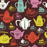 Coffee and tea seamless pattern. Set of sweet cakes and teapots icons 60016001656| 写真素材・ストックフォト・画像・イラスト素材|アマナイメージズ