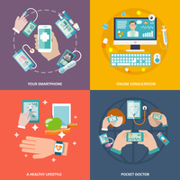 Digital health your smartphone online consultation healthy lifestyle pocket doctor icons flat set isolated vector illustration 60016001668| 写真素材・ストックフォト・画像・イラスト素材|アマナイメージズ