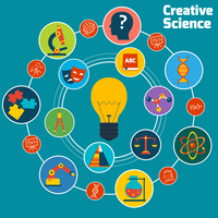 Creative science concept with education areas colored icons set and lightbulb in the middle vector illustration 60016001696| 写真素材・ストックフォト・画像・イラスト素材|アマナイメージズ
