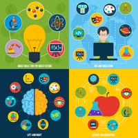 Science flat icons education set with on-line education ideas isolated vector illustration 60016001699| 写真素材・ストックフォト・画像・イラスト素材|アマナイメージズ