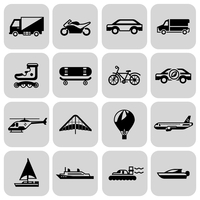 Transport black icons set with motorcycle car skateboard isolated vector illustration 60016001752| 写真素材・ストックフォト・画像・イラスト素材|アマナイメージズ