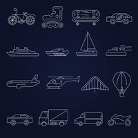 Transport outline icons set with scooter airplane yacht isolated vector illustration 60016001753| 写真素材・ストックフォト・画像・イラスト素材|アマナイメージズ