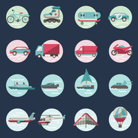 Transport round button icons set with truck helicopter motorcycle isolated vector illustration 60016001760| 写真素材・ストックフォト・画像・イラスト素材|アマナイメージズ