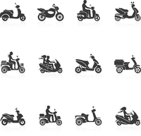 Black scooter motorcycle vehicles with people silhouettes icons set isolated vector illustration 60016001793| 写真素材・ストックフォト・画像・イラスト素材|アマナイメージズ