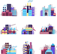 Industrial city construction building factories and plants icons set isolated vector illustration 60016001834| 写真素材・ストックフォト・画像・イラスト素材|アマナイメージズ