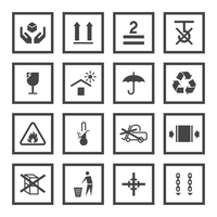 Handling and packing black icons set with fragile warning care symbols vector illustration 60016001841| 写真素材・ストックフォト・画像・イラスト素材|アマナイメージズ
