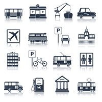 City infrastructure icons black set with tram pharmacy port taxi isolated vector illustration 60016001849| 写真素材・ストックフォト・画像・イラスト素材|アマナイメージズ