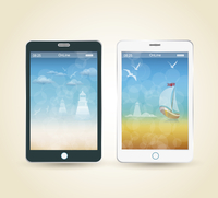 Smartphones with picture of beach and tropical sea, vector 60016002507| 写真素材・ストックフォト・画像・イラスト素材|アマナイメージズ