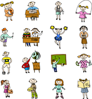 Reading learning cheerleading and playing football school kids with backpack doodle sketch vector illustration 60016002914| 写真素材・ストックフォト・画像・イラスト素材|アマナイメージズ
