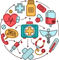 Medical emergency first aid health care icons set medicine concept vector illustration 60016003037| 写真素材・ストックフォト・画像・イラスト素材|アマナイメージズ