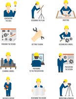 Set of construction industry engineer workers icons in flat style for profession science vector illustration 60016003110| 写真素材・ストックフォト・画像・イラスト素材|アマナイメージズ