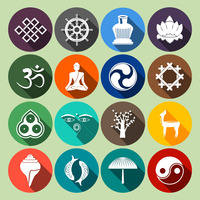 Buddhism yoga oriental traditional spiritual indian symbols icons flat set isolated vector illustration 60016003203| 写真素材・ストックフォト・画像・イラスト素材|アマナイメージズ