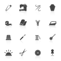 Sewing equipment and dressmaking accessories icons set black isolated vector illustration 60016003281| 写真素材・ストックフォト・画像・イラスト素材|アマナイメージズ