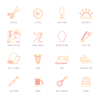 Sewing equipment and dressmaking accessories icons set flat line isolated vector illustration 60016003282| 写真素材・ストックフォト・画像・イラスト素材|アマナイメージズ