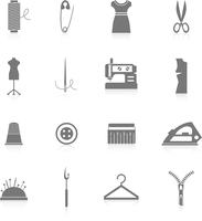Sewing equipment and tailor accessories icons set with needle thread iron zipper black isolated vector illustration 60016003323| 写真素材・ストックフォト・画像・イラスト素材|アマナイメージズ