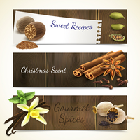 Gourmet spices sweet recipe christmas scent horizontal banners set isolated vector illustration 60016003356| 写真素材・ストックフォト・画像・イラスト素材|アマナイメージズ