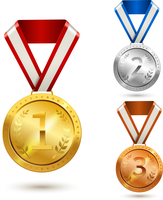 Gold silver and bronze medal awards isolated vector illustration 60016003464| 写真素材・ストックフォト・画像・イラスト素材|アマナイメージズ