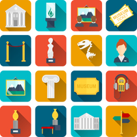 Museum icons flat set of sign canvas barrier isolated vector illustration 60016003500| 写真素材・ストックフォト・画像・イラスト素材|アマナイメージズ