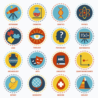 Science areas icons set with astronomy chemistry genetics isolated vector illustration 60016003549| 写真素材・ストックフォト・画像・イラスト素材|アマナイメージズ