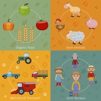Farm agriculture farmer flat set with organic food animals transport workers isolated vector illustration 60016003576| 写真素材・ストックフォト・画像・イラスト素材|アマナイメージズ