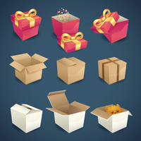 Box and package gift delivery icons set isolated vector illustration 60016003594| 写真素材・ストックフォト・画像・イラスト素材|アマナイメージズ