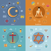 Religions icon flat set of islam buddhism christianity judaism symbols isolated vector illustration 60016003686| 写真素材・ストックフォト・画像・イラスト素材|アマナイメージズ