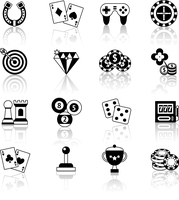Casino smart and video games black and white icons set with horseshoe chess chips isolated vector illustration 60016003806| 写真素材・ストックフォト・画像・イラスト素材|アマナイメージズ