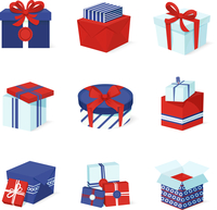 Blue white and red boxes and package gift container icons set isolated vector illustration 60016003811| 写真素材・ストックフォト・画像・イラスト素材|アマナイメージズ