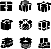 Black and white boxes and package gift container icons set isolated vector illustration 60016003812| 写真素材・ストックフォト・画像・イラスト素材|アマナイメージズ
