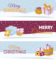 Merry christmas and happy new year horizontal banners set with holiday gift boxes isolated vector illustration 60016003813| 写真素材・ストックフォト・画像・イラスト素材|アマナイメージズ