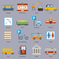 City infrastructure icons set with subway pharmacy port taxi isolated vector illustration 60016003936| 写真素材・ストックフォト・画像・イラスト素材|アマナイメージズ
