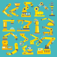 Robotic arm manufacture technology industry assembly mechanic flat decorative icons set isolated vector illustration 60016003948| 写真素材・ストックフォト・画像・イラスト素材|アマナイメージズ