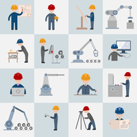 Engineering construction worker machine operator mechanic flat icons set isolated vector illustration 60016003950| 写真素材・ストックフォト・画像・イラスト素材|アマナイメージズ