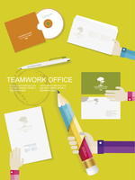 Set of office and business work elements in flat design  60016004085| 写真素材・ストックフォト・画像・イラスト素材|アマナイメージズ