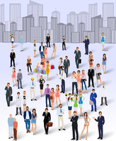 Large group crowd of people on city skyline background poster vector illustration 60016004196| 写真素材・ストックフォト・画像・イラスト素材|アマナイメージズ