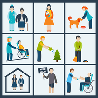 Social services and volunteer icons set isolated vector illustration 60016004202| 写真素材・ストックフォト・画像・イラスト素材|アマナイメージズ