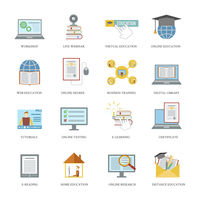 Online education icons set with workshop live virtual webinar isolated vector illustration 60016004226| 写真素材・ストックフォト・画像・イラスト素材|アマナイメージズ