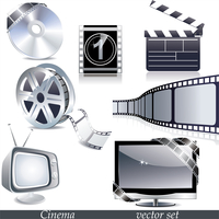 Vector cinema icons: film reel, stack of reels, film strip and clapboard 60016004642| 写真素材・ストックフォト・画像・イラスト素材|アマナイメージズ