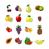 Fruits icons set of orange grape apple strawberry kiwi pineapple cherry and others vector illustration 60016005983| 写真素材・ストックフォト・画像・イラスト素材|アマナイメージズ