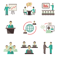 Business people online global discussions teamwork collaboration, meetings and presentations concept icons set isolated vector i 60016006037| 写真素材・ストックフォト・画像・イラスト素材|アマナイメージズ