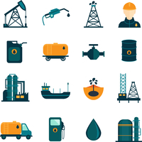 Oil industry drilling refining process petroleum transportation icons set with oilman and pump flat isolated vector illustration 60016006055| 写真素材・ストックフォト・画像・イラスト素材|アマナイメージズ